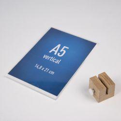 Chevalet plexi A5 sur mini socle bois